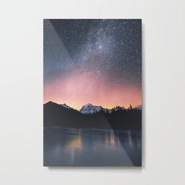 Milky Way Stars Mountain Landscape Metal Print