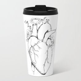 Black and White Anatomical Heart Travel Mug