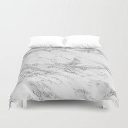 Elegant chic white gray silver glitter marble Duvet Cover