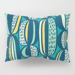 Blue Cactus Garden // mid century modern pattern Pillow Sham