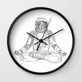 Astronaut Lotus Position Mandala Wall Clock