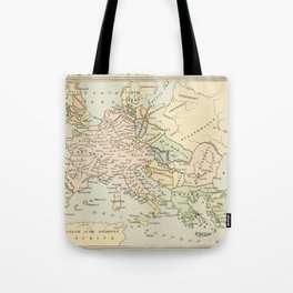 Old Map of Europe under the Empire of Charlemagne Tote Bag