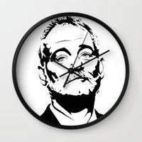 bill murray Wall Clocks featuring Bill Murray The Best by Spyck
