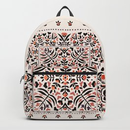N153 - Floral Bohemian Traditional Moroccan Style Illustration Backpack