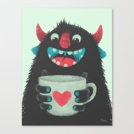 Demon with a cup of coffee Canvas Print