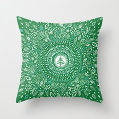 Christmas Tree Mandala Throw Pillow