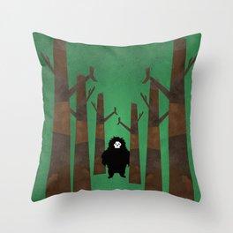 Sasquatch in Trees Throw Pillow