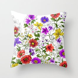 Watercolor Botanical Border Throw Pillow