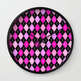 Pink Lavender Black Argyle Wall Clock