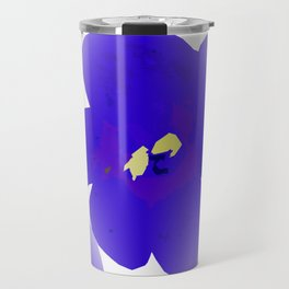 Large Retro Blue Flowers #1 White Background #decor #society6 #buyart Travel Mug