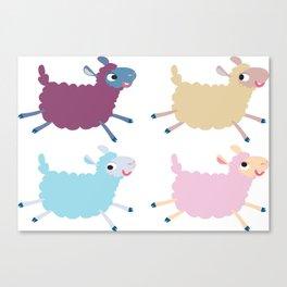Sheep jump over a fence Canvas Print