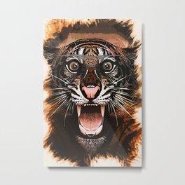 Surprised Tiger Metal Print