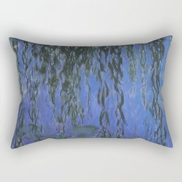 Water Lilies and Weeping Willow Branches by Claude Monet Rectangular Pillow