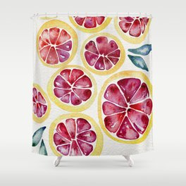 Sliced Grapefruits Watercolor Shower Curtain
