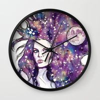 the moon Wall Clocks featuring moon by Beth Jorgensen