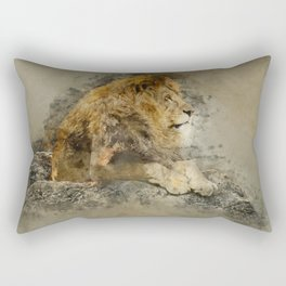 Lion on the rocks Rectangular Pillow