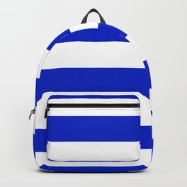Cobalt Blue and White Wide Cabana Tent Stripe Backpack