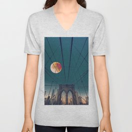 Blood Moon over the Brooklyn Bridge and New York City Skyline Unisex V-Neck