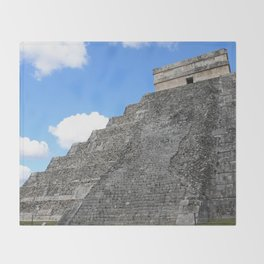 Chichen Itza Temple of Kukulcan south-west View Throw Blanket