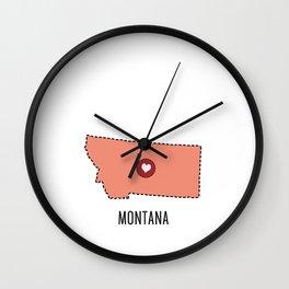 Montana State Heart Wall Clock