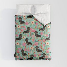 Doxie Florals - vintage doxie and florals gift gifts for dog lovers, dachshund decor, black and tan Comforters