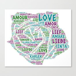 Rose illustrated with Love Word of different languages Canvas Print