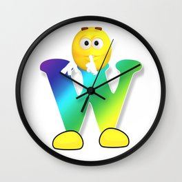 Letter W Alphabet Smiley Monogram Face Emoji Shirt for Men Women Kids Wall Clock