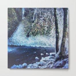 Horsetail Falls in Winter Metal Print