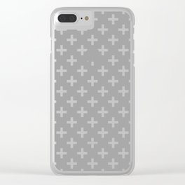 Crosses | Criss Cross | Plus Sign | Hygge | Scandi | Grey and White | Clear iPhone Case