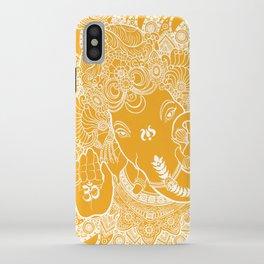 Ganesha Lineart Yellow White iPhone Case