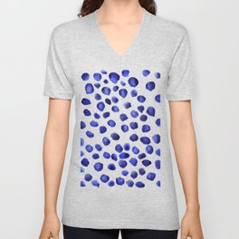 Watercolor polka blueberry color pattern Unisex V-Neck