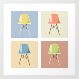 Eames Chairs in Squares Art Print