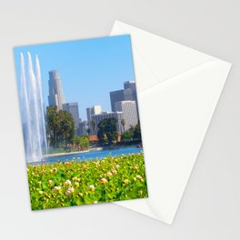 Blooming Lotus Echo Park And Downtown Los Angeles Skyline Stationery Cards