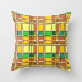 Caribbean Colorful Fabric Madras Tartan Throw Pillow
