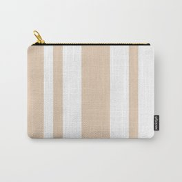 Mixed Vertical Stripes - White and Pastel Brown Carry-All Pouch