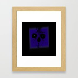 Blue Skull on Black Framed Art Print
