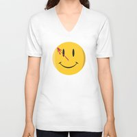 watchmen V-neck T-shirts featuring Who watches the watchmen?  by Vickn