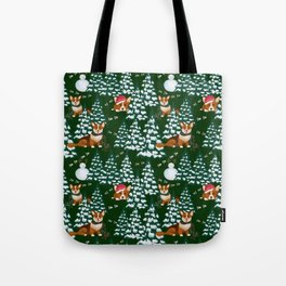 Corgis in the winter mountains - green pattern Tote Bag
