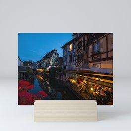 Dinner on the Lauch River - Colmar, France Mini Art Print