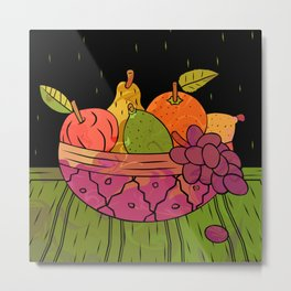 Fruit Bowl Linocut (Colour on Black) Metal Print