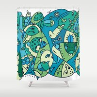 under the sea Shower Curtains featuring Enchantment Under the Sea by Rabassa
