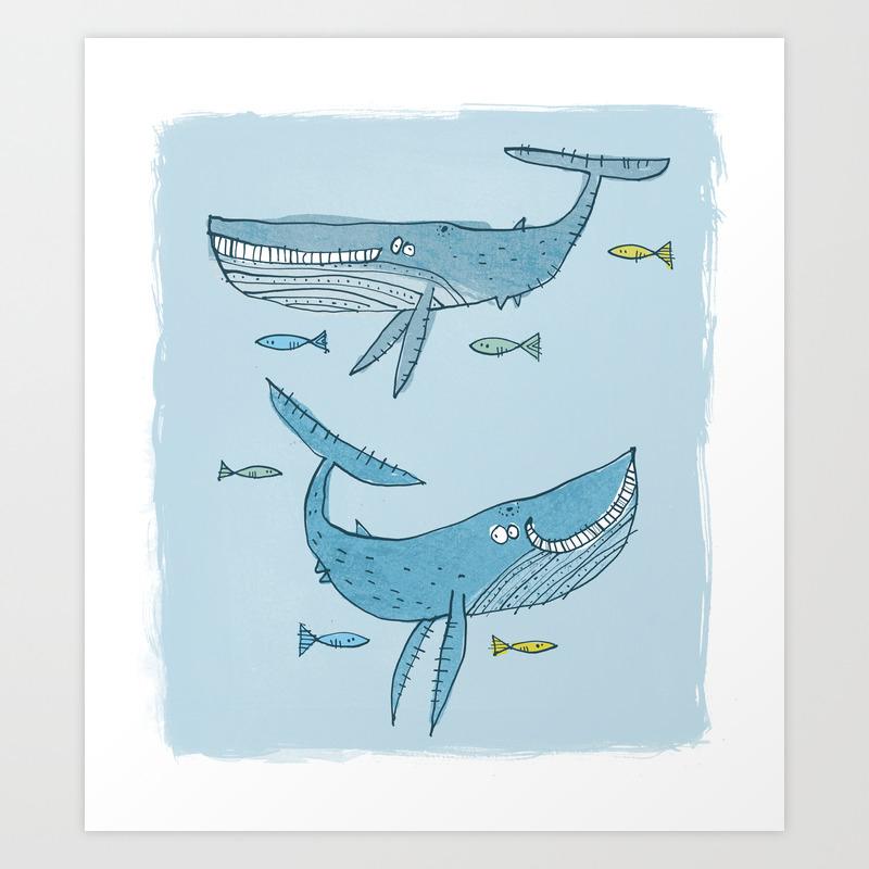 'whales & Pilot Fish' Art Print by Stareatthesky PRN7609554