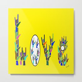 ASL LOVE HANDS TYPOGRAPHY Metal Print