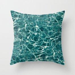 Aqua Underwater Wavy Rippling Water Throw Pillow