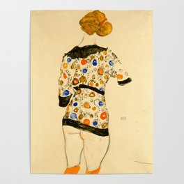 """Egon Schiele """"Standing Woman in a Patterned Blouse"""" Poster"""