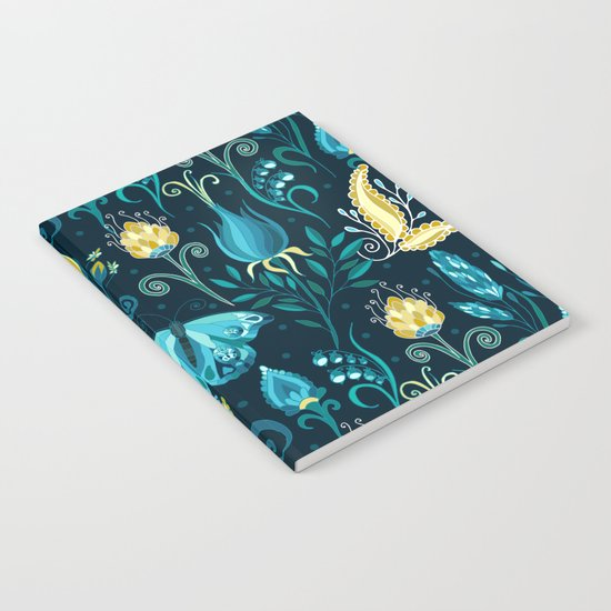 Floral blue pattern with butterfly Notebook