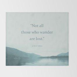 Blue Lake + Tolkien Quote Throw Blanket