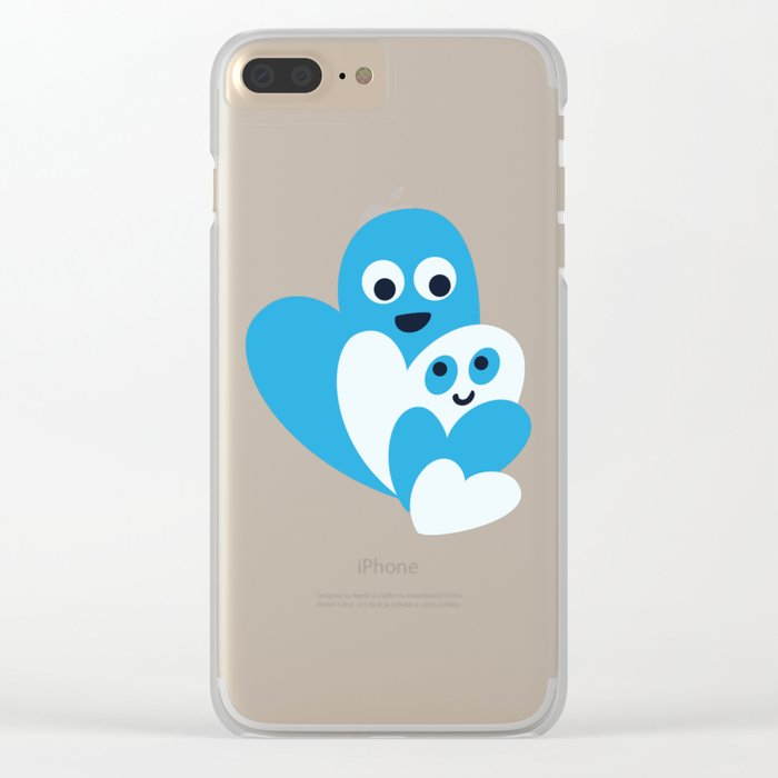 Happy Hearts Family Clear iPhone Case
