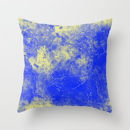 Cool Blue Yellow Marble Pattern Gift Throw Pillow
