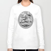 lotr Long Sleeve T-shirts featuring Lord of the Rings Mordor Tower Vintage Geek Art by Barrett Biggers